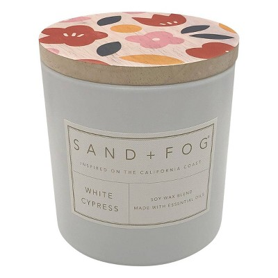 25oz White Cypress Scented 3-Wick Candle - Sand + Fog