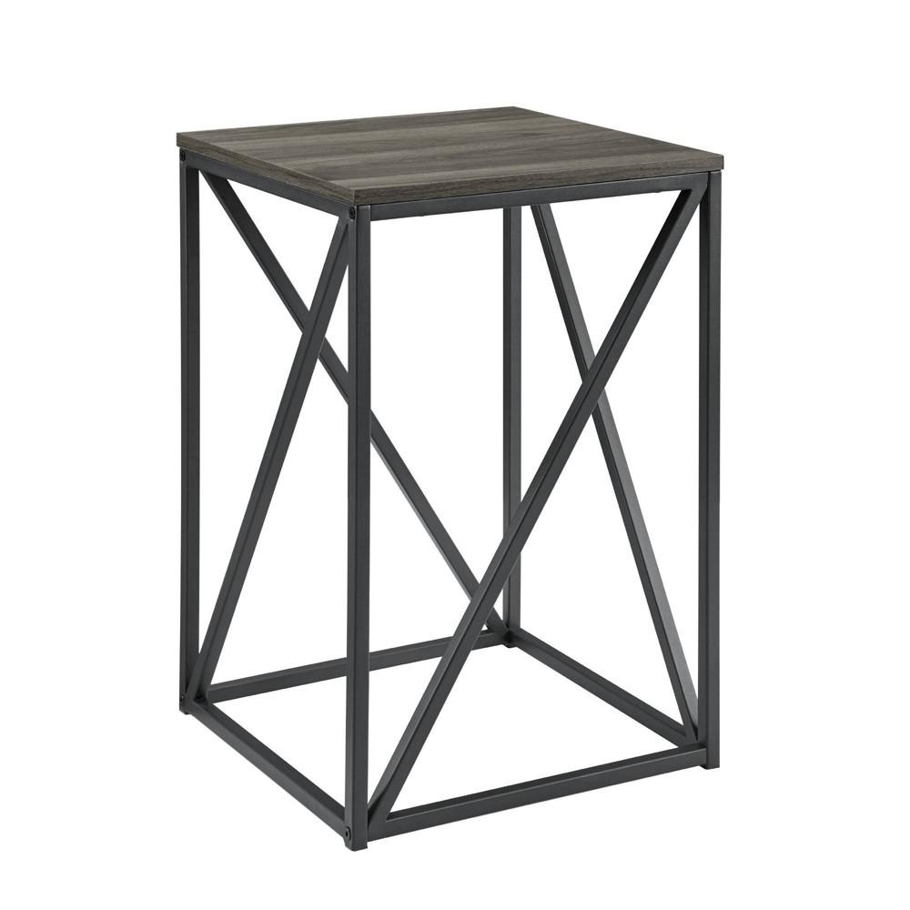 "Image of ""16"""" Modern Geometric Square Side Table Slate Gray - Saracina Home"""