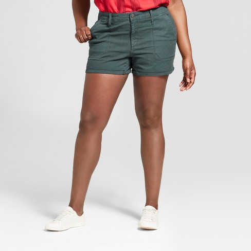 Women's Plus Size Midi Utility Shorts - Universal Thread™ Dark Wash - image 1 of 3