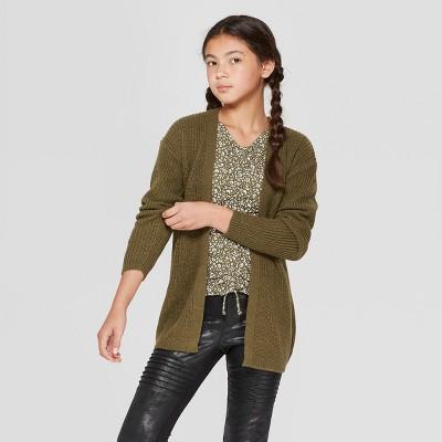 17b19ce4a99282 Girls  Lace-Up Back Long Sleeve Cardigan - art class™ Olive