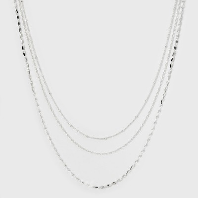 Three Rows Short Necklace - A New Day™ Silver