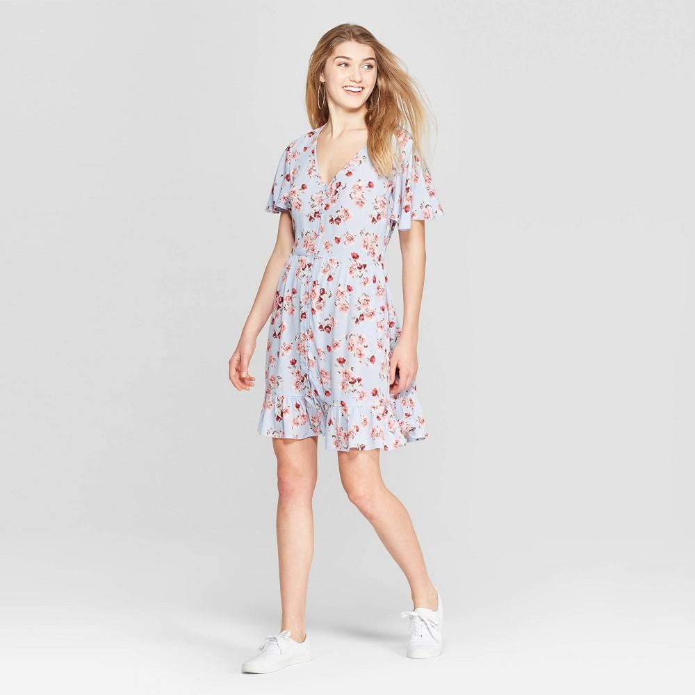 7e7154dc40c4 Women's Floral Print Short Sleeve Deep V-Neck Button Front Dress -  Xhilaration Blue XS