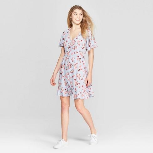 1a208f862f Women s Floral Print Short Sleeve Deep V-Neck Button Front Dress -  Xhilaration™ Blue