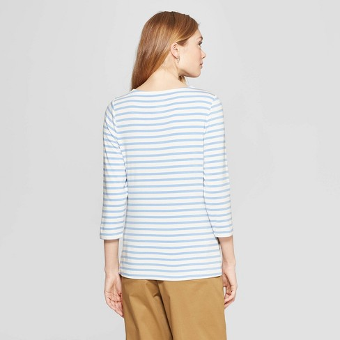 f0eb905efff631 Women's Striped 3/4 Sleeve Clean Boat Neck T-Shirt - A New Day ...