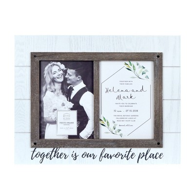 "5"" x 7"" Two Openings Wedding Picture Frame White - New View"