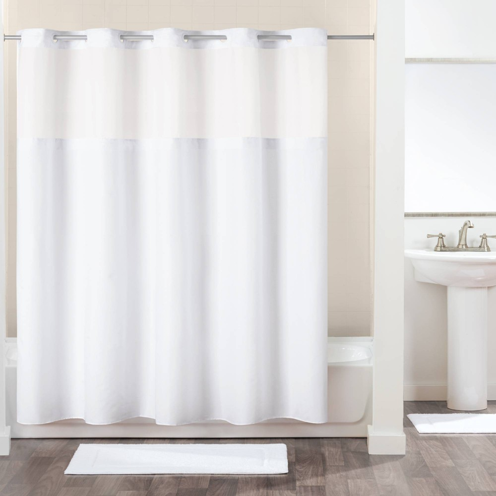 Image of Antigo Shower Curtain with Fabric Liner White - Hookless
