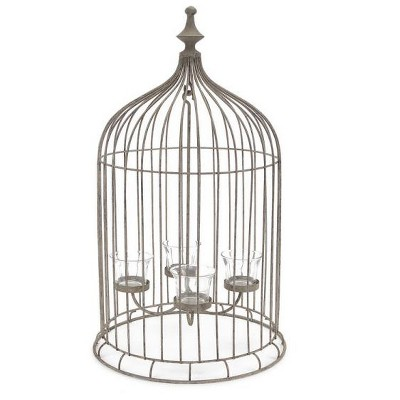 "Melrose 23"" Rustic Antique-Style Bird Cage 4-Tea Light Candle Holder"