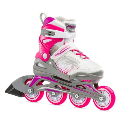 Rollerblade Bladerunner Phoenix Girls Kids Outdoor Adjustable Inline Roller Skates, 12J thru 2, Pink/White