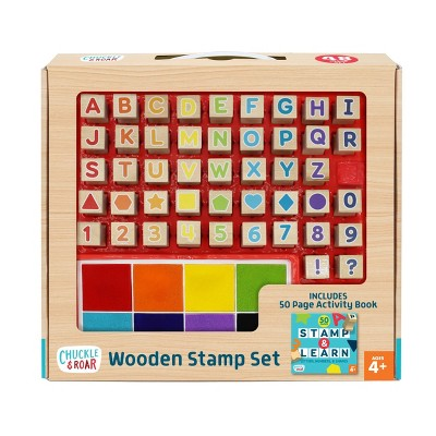 48pc Wooden Letters, Numbers, & Shapes Stamp Set - Chuckle & Roar