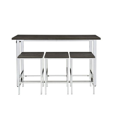 Nadine Multipurpose Bar Dining Table Set Chrome - Picket House Furnishings