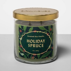 15.1oz Lidded Glass Jar 2-Wick Candle Holiday Spruce - Opalhouse™