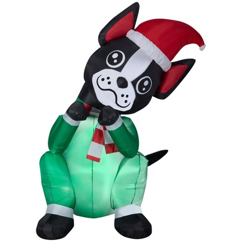 holiday animated inflatable begging dog boston terrier - Boston Terrier Outdoor Christmas Decoration