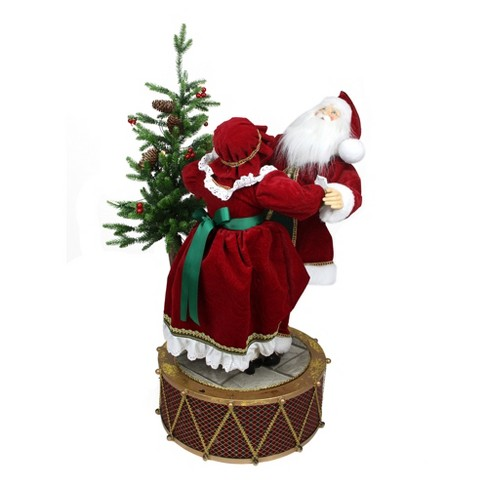 Christmas Drum Decor.Northlight 32 Musical And Led Lighted Rotating Santa And Mrs Claus Christmas Decor