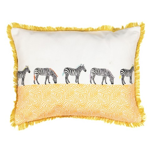 """14""""x20"""" Wild life Embroidered Zebra Throw Pillow - Spree By Waverly - image 1 of 2"""