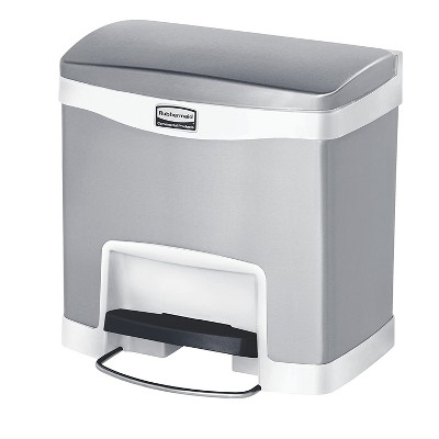 Rubbermaid 1901984 Slim Jim Stainless Steel Front Step Trash Can, 4 Gallon Capacity and Quiet Close Lid, White Accents