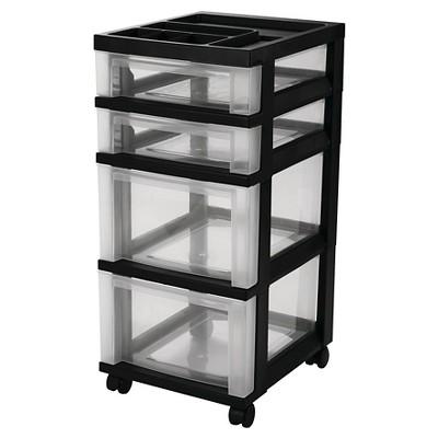 IRIS 4 Drawer Rolling Storage Cart, Black