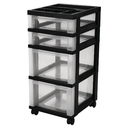 IRIS 4 Drawer Rolling Storage Cart, Black - image 1 of 3