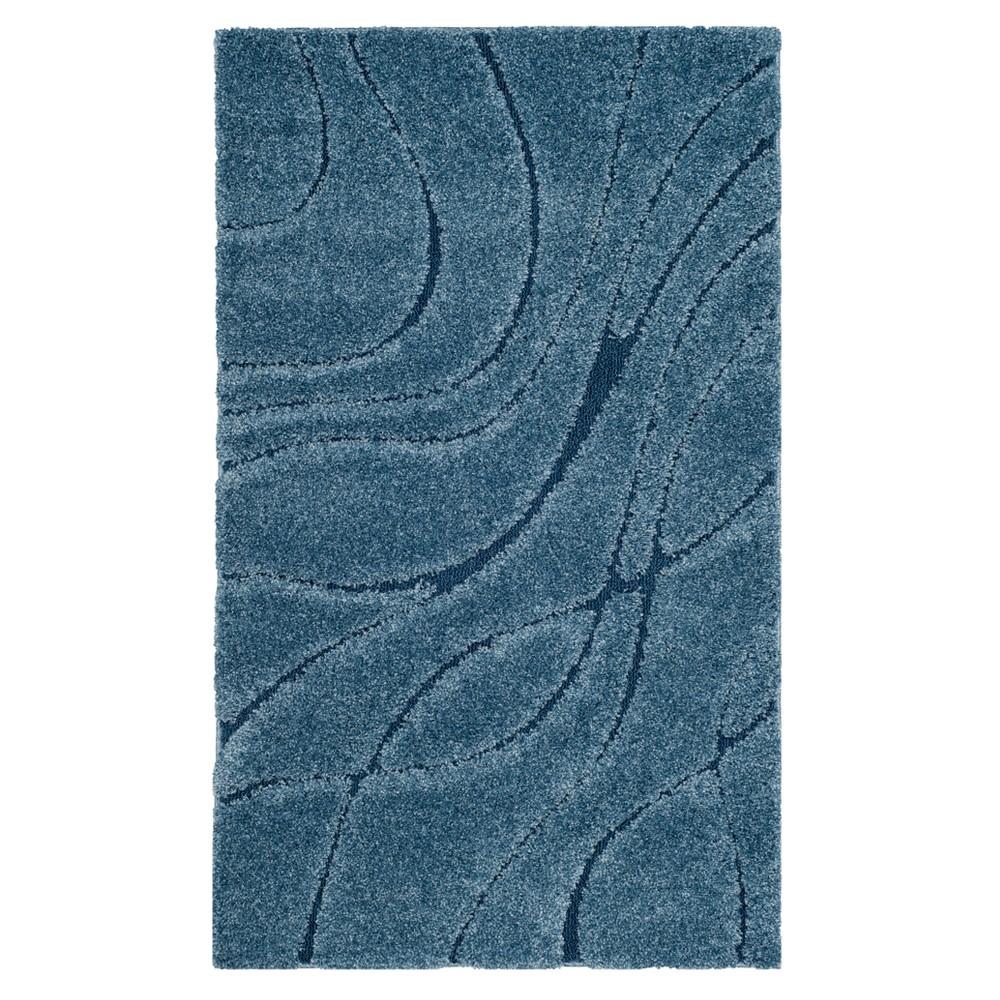 Light Blue Swirl Loomed Accent Rug 4'X6' - Safavieh