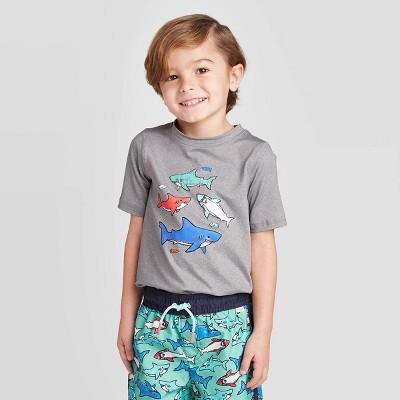 Toddler Boys' Shark Short Sleeve Rash Guard Swim Shirt - Cat & Jack™ Gray 12M