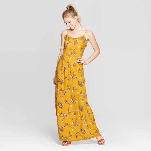 Women's Floral Print Sleeveless Strappy Ruffle Trim Maxi Dress - Xhilaration™ Gold - image 1 of 2