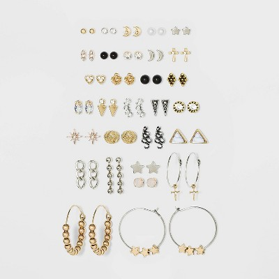 Multi Shapes and Stones Earring Set 30pc - Wild Fable™