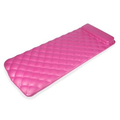 Kelsyus 72 Inch Laguna Lounger Portable Roll Up Foam Floating Mat with Built In Oversized Pillow for Swimming Pool, Lake, Beach, Pink
