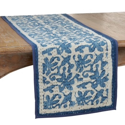 "72"" x 14"" Cotton Floral Kantha Stitch Table Runner Blue - Saro Lifestyle"