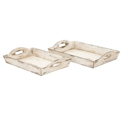 Distressed Wooden Serving Trays Off White - Benzara