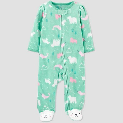 Baby Girls' Arctic Animal Fleece Sleep 'N Play - Just One You® made by carter's Green 3M