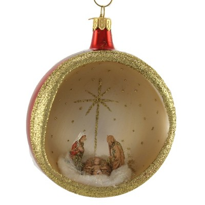 "Italian Ornaments 5.0"" 100Mm Round With Nativity Ornament Italian Religious  -  Tree Ornaments"