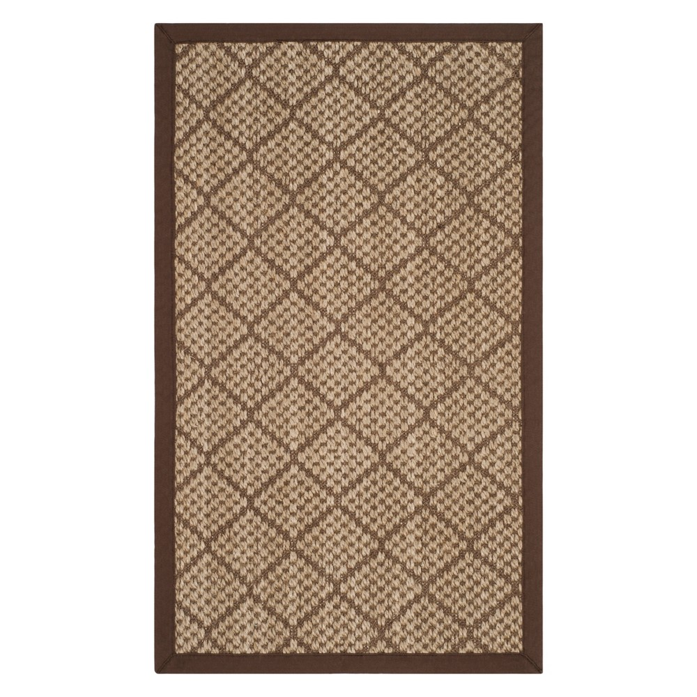 4'X6' Geometric Loomed Area Rug Natural/Brown - Safavieh, White