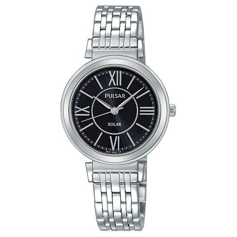 Ladies Pulsar Solar - Silver Tone with Black Dial - PY5027 - image 1 of 1