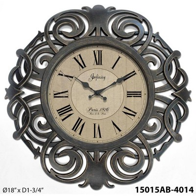 "18"" Paris Wall Clock Bronze - Infinity Instruments"