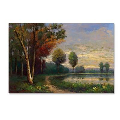 "16"" x 24"" Landscape with a Lake by Daniel Moises - Trademark Fine Art"