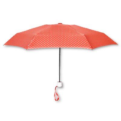 ShedRain Manual Compact Umbrella - Coral Polka Dot