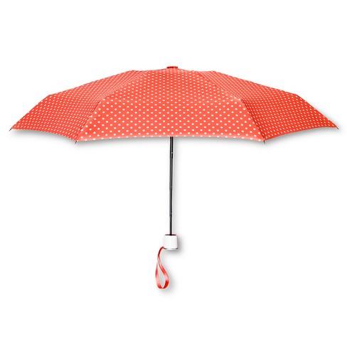 ShedRain Manual Compact Umbrella  - Coral Polka Dot - image 1 of 2