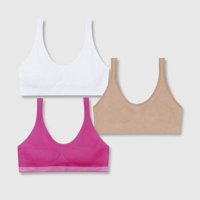 67666f564c Hanes Girls  2+1 Bonus Pack Get Cozy Seamless Pullover Bra -  Beige Purple White S   Target