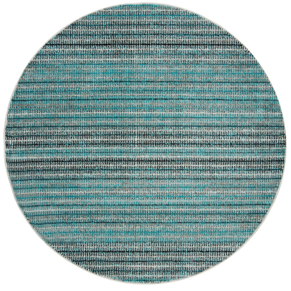 Blue/Gray Stripe Loomed Round Area Rug 6'7 - Safavieh, Gray Blue