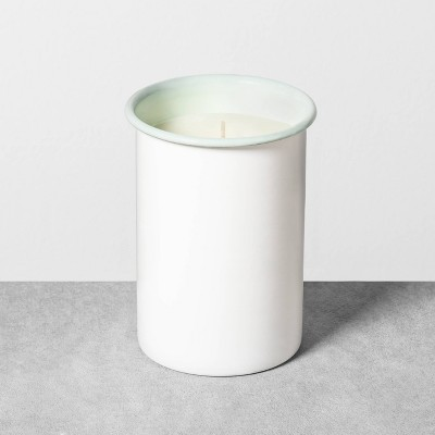 14.5oz Enamelware Candle Silver Green Juniper Water & Aloe - Hearth & Hand™ with Magnolia