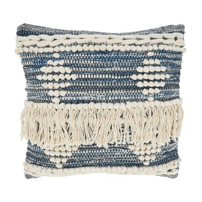 """18""""x18"""" Chindi Design Square Pillow Cover with Fringe Blue - Saro Lifestyle"""
