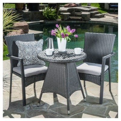 Georgina 3pc Wicker Patio Bistro Set with Cushions - Gray - Christopher Knight Home