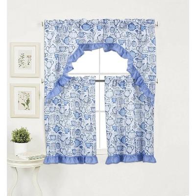 GoodGram English Tea Time 3 Pc Kitchen Curtain Tier & Swag Valance Set