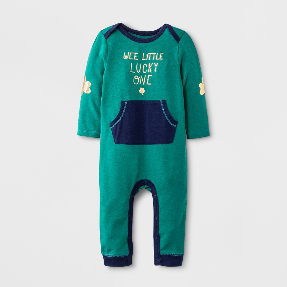 Baby Boys' Long Sleeve Romper with Kangaroo Pocket - Cat & Jack Green 6-9M, Blue