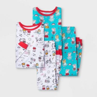 Toddler Girls' 4pc Peppa Pig Snug Fit Pajama Set
