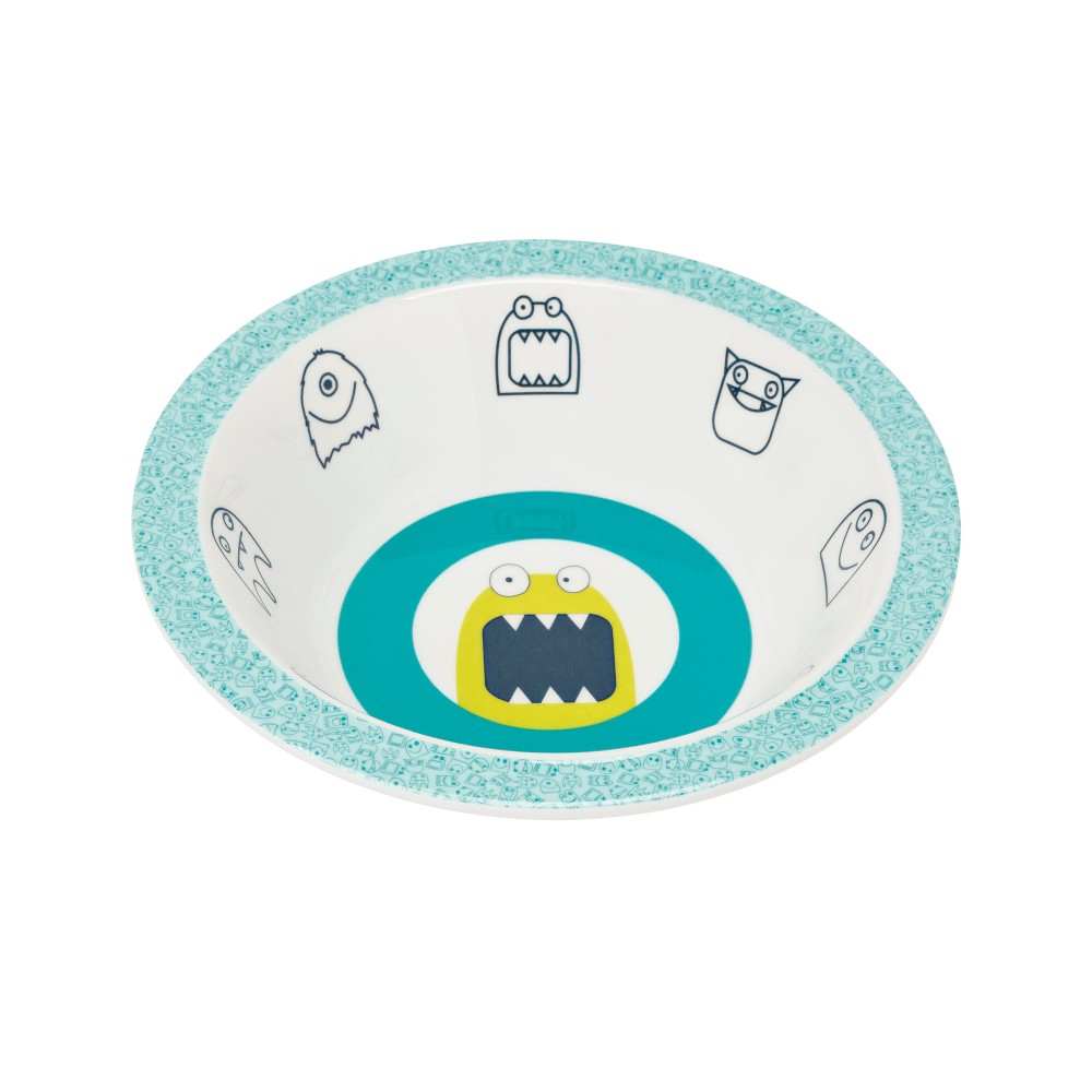 Image of Lassig Little Monsters Bouncing Bob Bowl - Blue