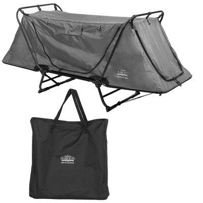Kamp-Rite Original 1 Person Grey Easy Setup Tent Cot Folding Bed Bundle with Valuables Storage Bag