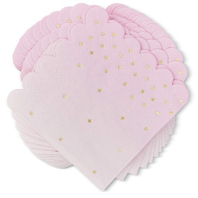 Sparkle and Bash 100 Pack Ombre Pink Disposable Paper Napkins 5 Inches Party Supplies