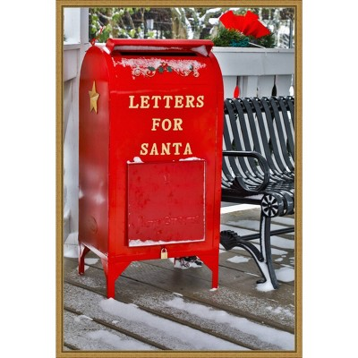 """16"""" x 23"""" Letters for Santa Red Mailbox with Snow by Darrell Gulin Danita Delimont Framed Canvas Wall Art - Amanti Art"""