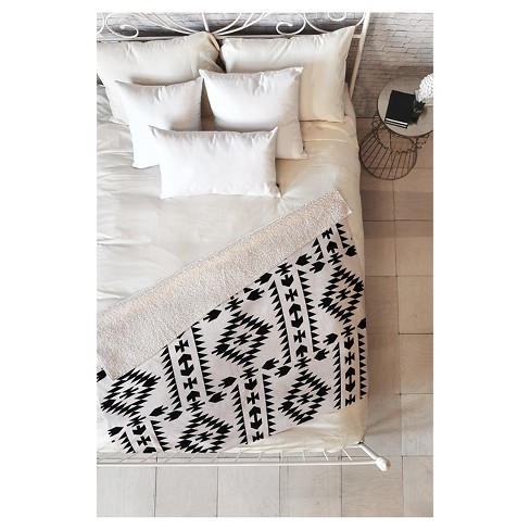 "Black Geometric Holli Zollinger Geo Panel White Sherpa Throw Blanket (50""X60"") - Deny Designs - image 1 of 3"