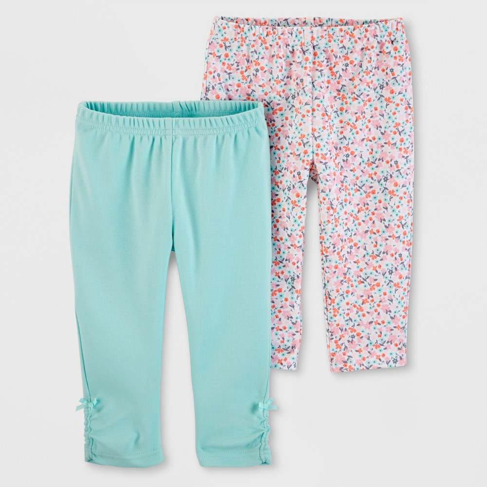 Baby Girls' 2pk Leggings - Just One You made by carter's Blue/Pink 18M